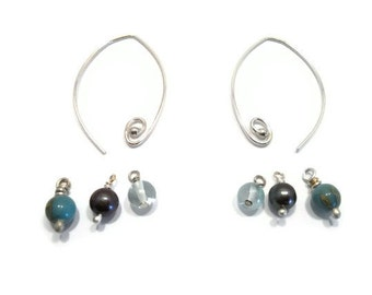 Interchangeable Earrings Wire Wrapped Jewelry Sterling Silver Hoop Earrings Spiral Blue Aquamarine Black Pearl