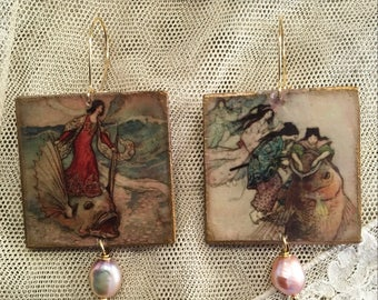 Warwick Goble. Decoupage Earrings with natural pearls.