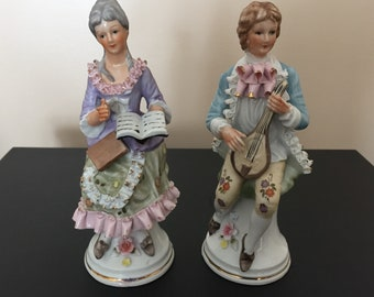Victorian ceramic seated Couple Man & Woman ruffled attire hand painted Poetry and Musician