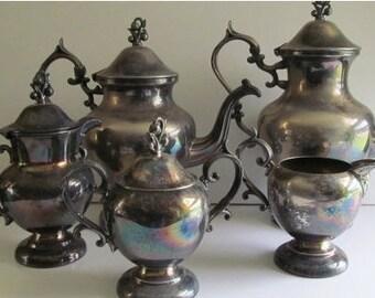 6 pc RARE AND Fabulous Antique Victorian Silver Teapot Set Victorian Tea Party Silver Copper Tea Pot Set Silver Sugar and Creamer Spooner