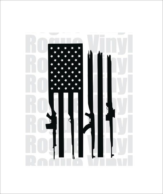 Distressed American Flag Guns Decal Sticker