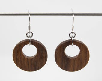 Afromosia Earrings, Wooden Hoop Earrings, Creole Earrings, Wood Earrings, Wooden Dangle Earrings, Wooden Earrings, Wooden Drop Earrings