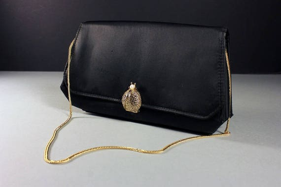 Black Handbag, Rhinestone and Pearl Ladybug Closure, Chain Handle, Faux Pearl, 1950s, Clutch Purse