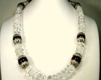 VERY Chunky Clear Quartz Crystal Bead Necklace, Black Beads w Silver Filigree Caps, Gem Quality, Faceted Quartz Discs, OOAK Rachelle Starr