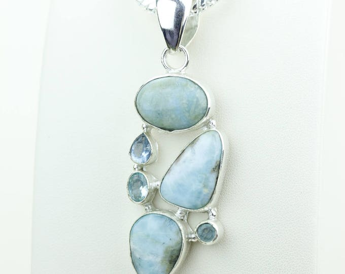 Good Quality Larimar 925 S0LID Sterling Silver Pendant + 4MM Snake Chain & Worldwide Shipping p4038
