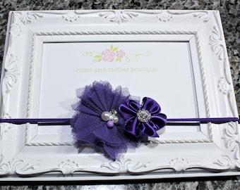 Purple Baby Birthday Headband, Baby Girl Headband, Newborn Headband, Flower Headband, Baby Photo Prop, Infant Headband, Toddler Headband