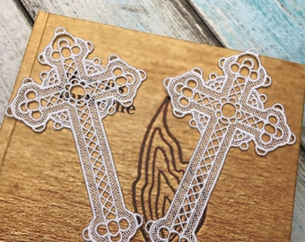 Lace Bookmark - Embroidered Cross