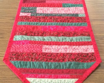 Quilted Reversible Holiday Christmas Table Runner in Red Pink Green 55 x 15.5 in.