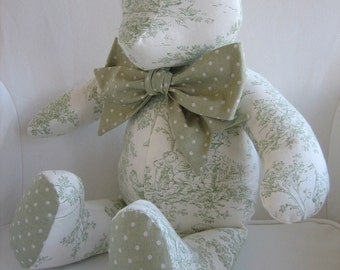 MADE TO ORDER - Avery - Sage Green Toile Teddy Bear
