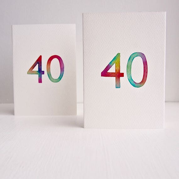 Handmade 40th birthday any card watercolour birthday card bookmarktalkfo Choice Image