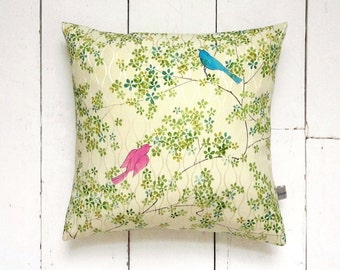 "Clearance! Yellow and Green Vintage Kimono Silk Fabric Pillow Cushion 'Songbirds' (12"" x 12"")"