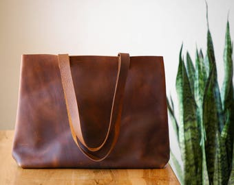 classic brown leather tote | christmas gift for women | laptop tote leather | laptop bag 13 inch | leather bag |  leather shopper | tote bag
