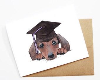 Graduation Card - Dachshund, Grad Card, College Graduation, High School Grad, Congrats Grad, Congrats Card, Cute Dog Card