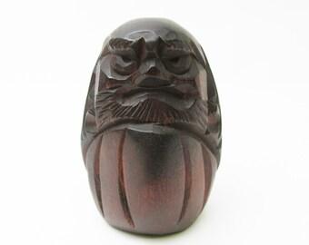 Vintage Wooden Daruma.Japanese Folk Art.Wood carving.1960s.80mm.#dr94.msjapan.