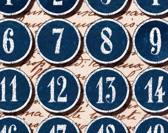 Blue and White 1-30 number labels tags 1.5 inch circles collage sheets Instant Download n051