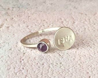 February birthstone ring, silver disc ring, silver amethyst ring, Mother's Day jewellery, adjustable silver ring, adjustable birthstone ring