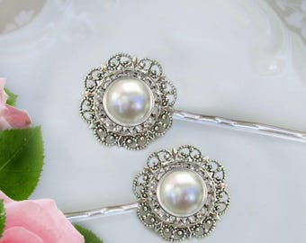 Pearl Hair Pins, Ivory Pearl Clip, wedding Bobby Pins, Vintage style, Bridal Hair pins, Bridesmaid hair pin, Bridesmaids Hair