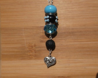Aromatherapy Necklace, Lampglass Necklace, Heart, Lava Bead