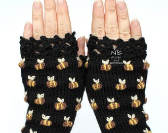 Bees On The Gloves, Black Gloves With Bees, Hand Knitted Fingerless Gloves, Embroidered Gloves, Mitts, Gloves & Mittens