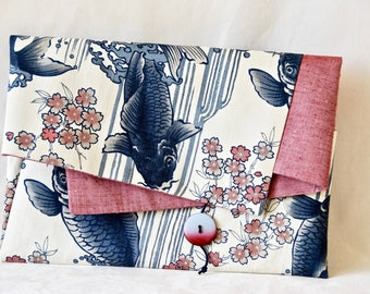 Modern Japanese koi cotton laptop/A4 cutch bag