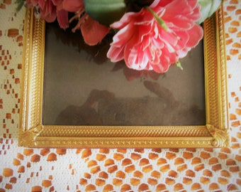 Ornate Gold brass  picture frame 5x7 heavy metal