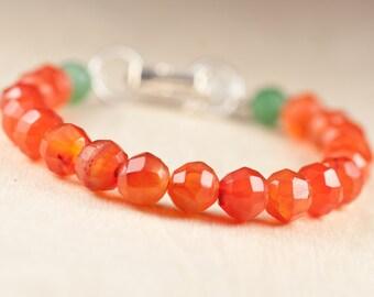 Carnelian Bracelet, Green Aventurine, White Jade, Chakra Jewelry, Energy Bracelet, sacral chakra, fertility Jewelry, Fertility Bracelet