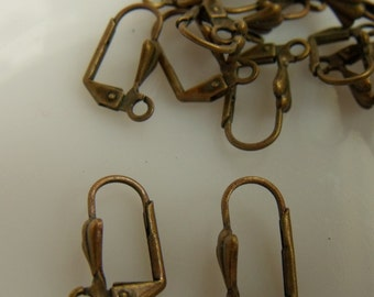 Antiqued Gold Brass Leverback Ear Wires with Shell 12 Pcs