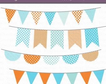 Blue and Orange Goldfish Bunting Clipart Digital Art Set Blue Orange Banner Flag INSTANT DOWNLOAD