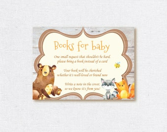 Bring A Book Card, Bring A Book Instead Of A Card, Book Insert, Woodland Book Insert, Woodland Book Request, Bring A Book Baby Shower Insert