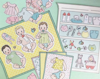 Printable BABIES Play Set -PDF instant download- pretend play, stickers, collage, paper toys, paper craft, paper dolls