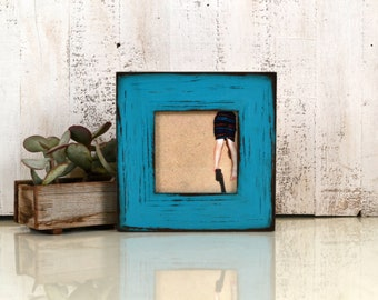 """5x5"""" Square Picture Frame in 2.25"""" Reclaimed Redwood with Super Vintage Turquoise Finish - IN STOCK Same Day Shipping - 5 x 5 Reclaimed Wood"""