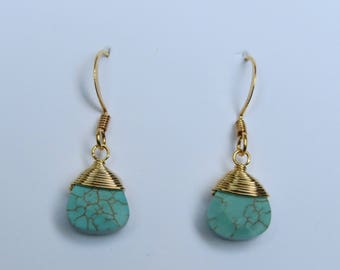 Gold wired wrapped turquoise drop earrings