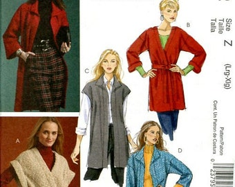 FREE US SHIP McCall's 5932 The Fashion Cardigan Jacket 2009 Sewing Pattern Out of Print Size Size 16 18 20 22 plus size Bust 38 40 42 44