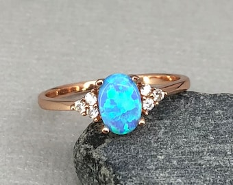14K Solid Rose Gold Oval Light Blue Fire Opal Diamond Simulated Stone Three Stone Engagement Wedding Promise Ring