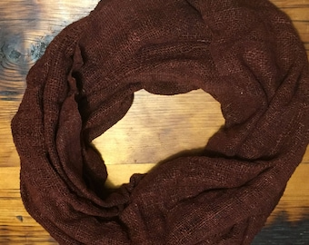 Red silk infinity scarf (72x23in)