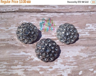 ON SALE Clear Rhinestone Buttons, 3 Acrylic Buttons, Round, Swirl, 25mm, Baby Headbands, Infant Headbands, DIY Wedding, Craft Projects  28Sw
