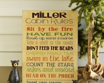 Cabin Rules; Fun, Personalized Rules for display at your cabin! Measures 12x18; Cabin Decor,