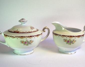 Sugar and Creamer, Meito China, Vintage China, Fine China Japan, Floral Design, Gold Gilded Tea Set, Sugar Bowl Creamer, Meito Porcelain