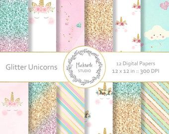 Unicorn digital paper - Unicorn clipart - Scrapbook paper, Unicorn Glitter Digital Paper, Glitter Digital Paper, Commercial use