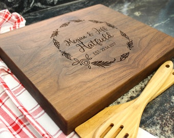 "15x12"" Personalized Chopping Block - Engraved Edge Grain, Custom Butcher Block, Housewarming, Wedding, Engagement, Hostess Gift (024)"