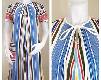30% Off Sale 70s Primary Color Striped Terry Zip Up Short Sleeve Robe, House Coat or Swim Cover Up, Medium to Large