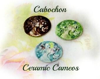 Cabochon cameo - ceramic cabochon cameo , handmade cameo bead supply , vintage style cameo bead supplies ,  Cameo jewelry supply -    # 22