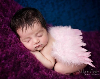 Pink Newborn Feather Wings, Angel Wings, Newborn Photography Prop, Baby Wings