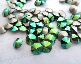 12 Scarabaeus Green Foiled Swarovski Crystal Rivoli Stone 1122 39ss 8mm