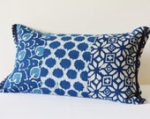 Quilted Cotton Block Printed Indigo Pillow Cover , Beautiful Blue Printed Pillow Cover , Patchwork Block Print Decorative Cushion Cover