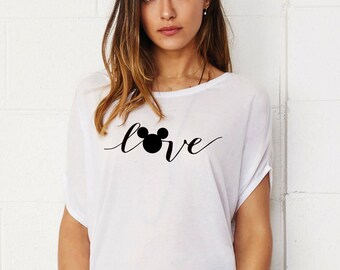 Love Mickey Lady's Tunic Loose Fit T-shirt Cotton Touch Shirt Woman Shirt