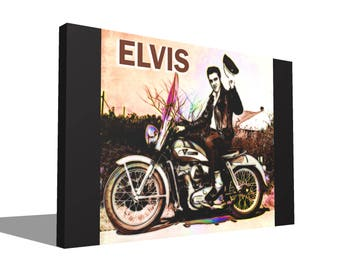 Elvis Presley On Harley Davidson 1971 100% Cotton Canvas Print Using UV Archival Inks Stretched & Mounted