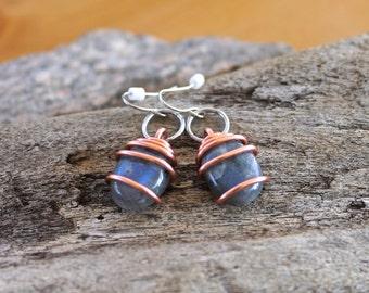 Labradorite Earrings - Labradorite Jewelry - Wiccan Jewelry - Gemstone Earrings - Natural Stone Jewelry - Bohemian Earrings - Boho Chic