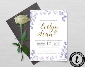 Wedding Invitation Template, Printable Blue and gold Wedding Invitation Set, Printable Invitations, Editable Invitations