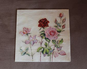 Red roses pattern paper napkins and roses